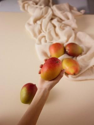 Une main tenant une mangue