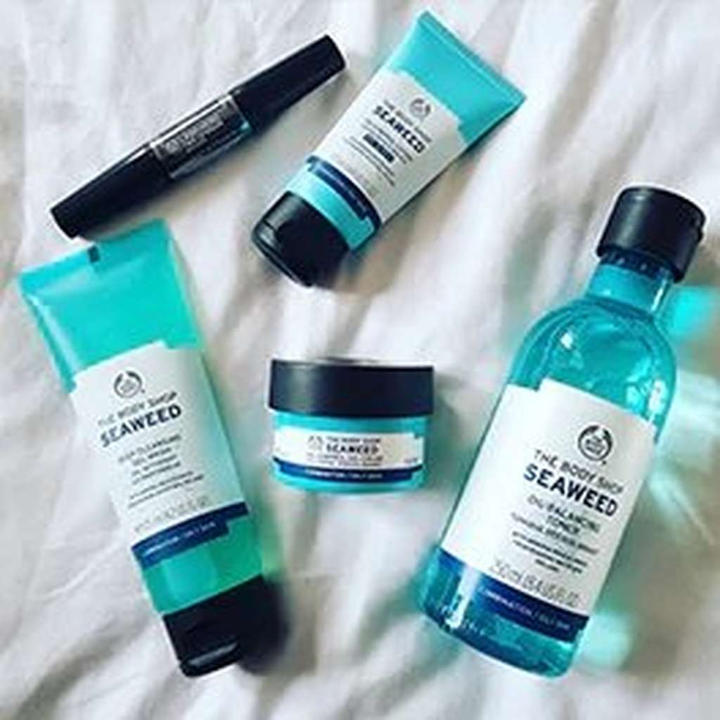 BODYSHOP SEA WEED OIL PRODUCTS ON MATERIAL