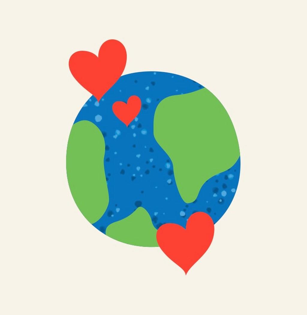 Ilustración de la Tierra con corazones