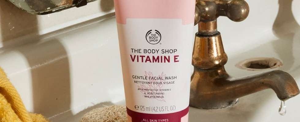 Vitamin E cleanser on bathroom sink