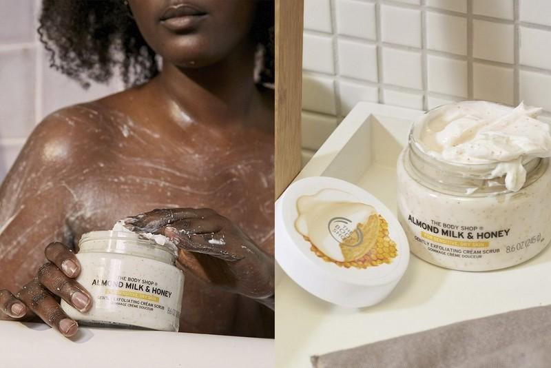 Almond milk body scrub application