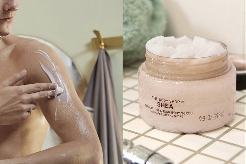 Shea body scrub application