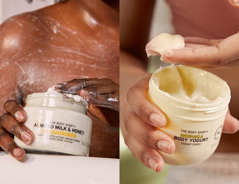 Almond Milk Body Scrub and Moringa Body Yogurt application