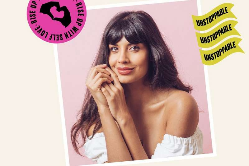 Photo of Jameela Jamil with self-love illustrations surrounding it