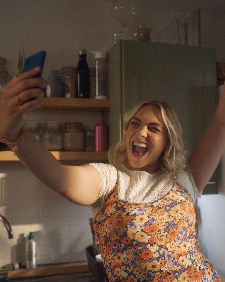 Women taking selfie and smiling