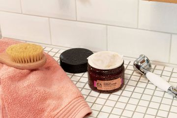 The Body Shop African Ximenia Scrub in shower