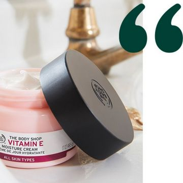 Vitamin E Moisture Cream with two quotation marks next to it