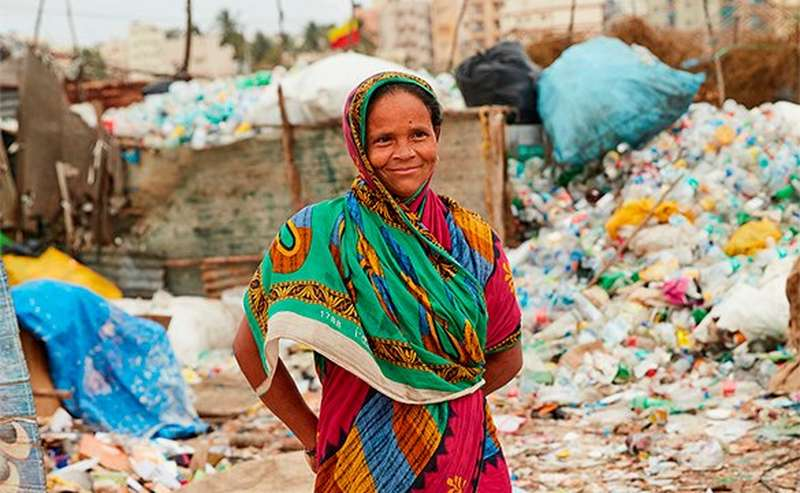 Woman with fair trade plastic