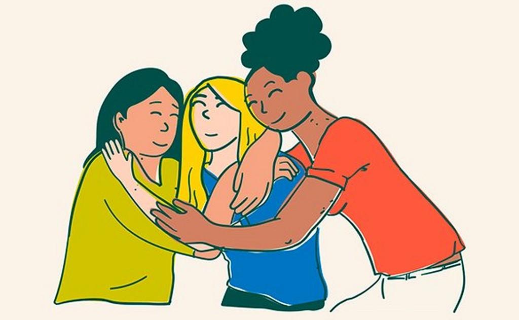 Illustration de trois femmes qui s'étreignent