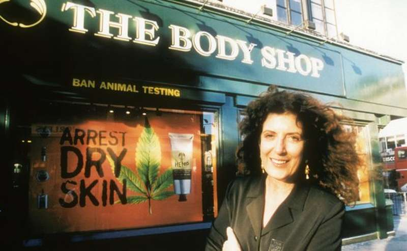 Anita Roddick outside The Body Shop